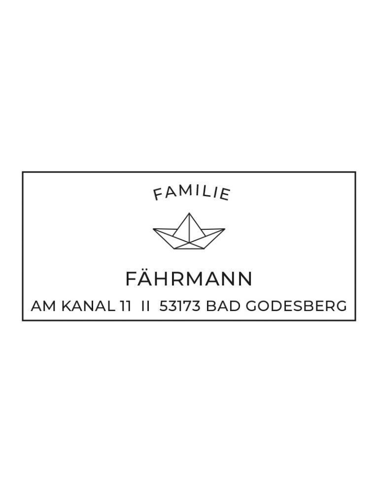 "Rechteckiger Selbstfärbestempel mit Adresse, personalisierbar, Motiv ""Bad Godesberg"""