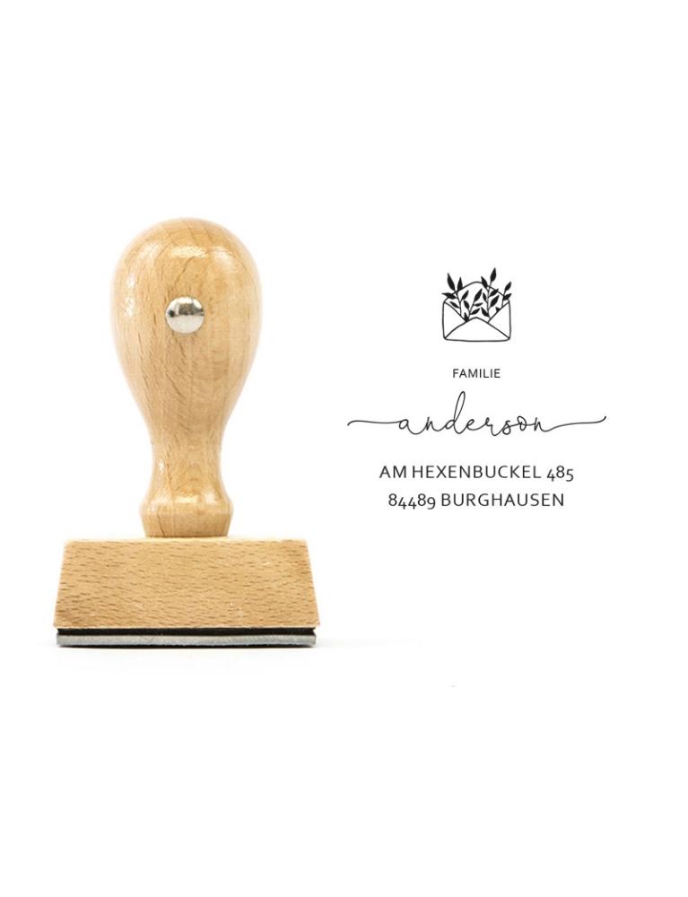 "Namensstempel ""Burghausen"", 60 mm rund, floral, Holzgriff"