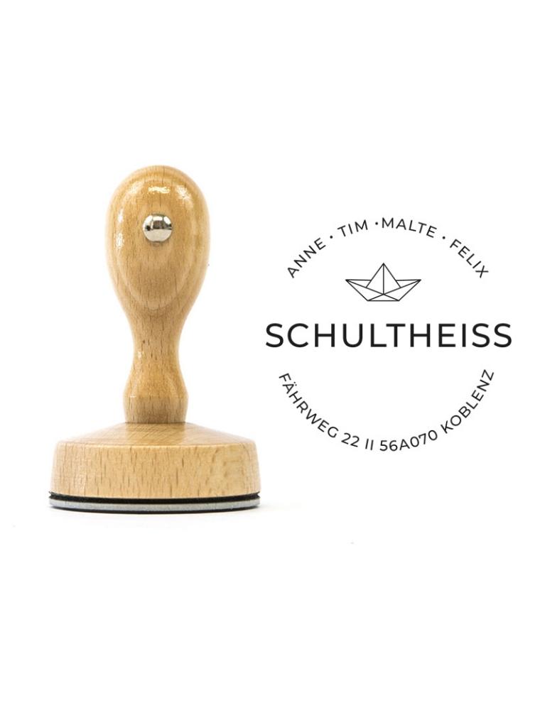 """Runder Holzstempel mit Adresse,Boot, personalisierbar, Motiv """"Koblenz"""""""