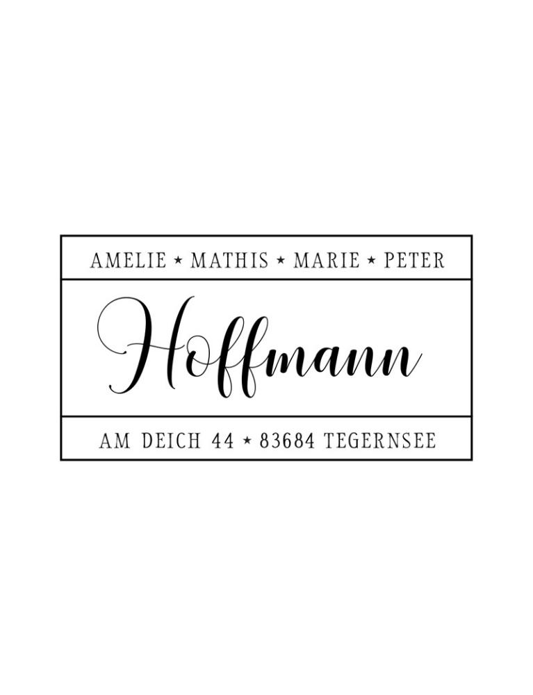 """Rechteckiger Holzstempel mit Adresse, personalisiert, Motiv """"Tegernsee"""""""