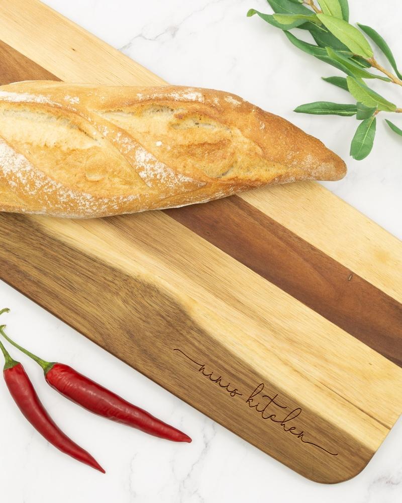 Servierbrett aus Akazienholz, ca. 190 x 600 mm, graviert, Jamie Oliver-Edition Preston XL