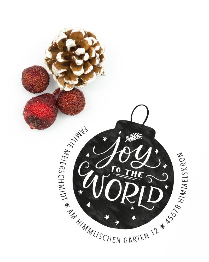 """Personalisierter Adress-Stempel zu Weihnachten, runder Holzstempel, Motiv """"Joy"""""""
