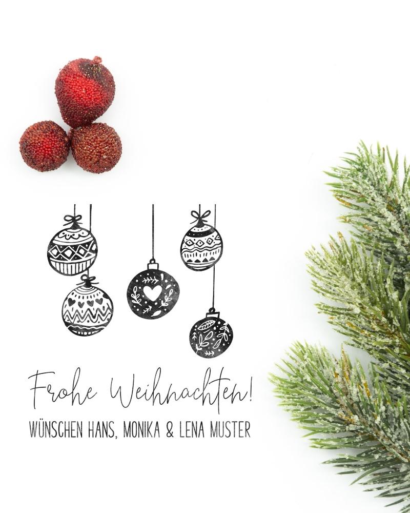 "Weihnachtsstempel ""Christbaumkugeln"", Holzstempel personalisiert, ca. 50 x 35 mm"