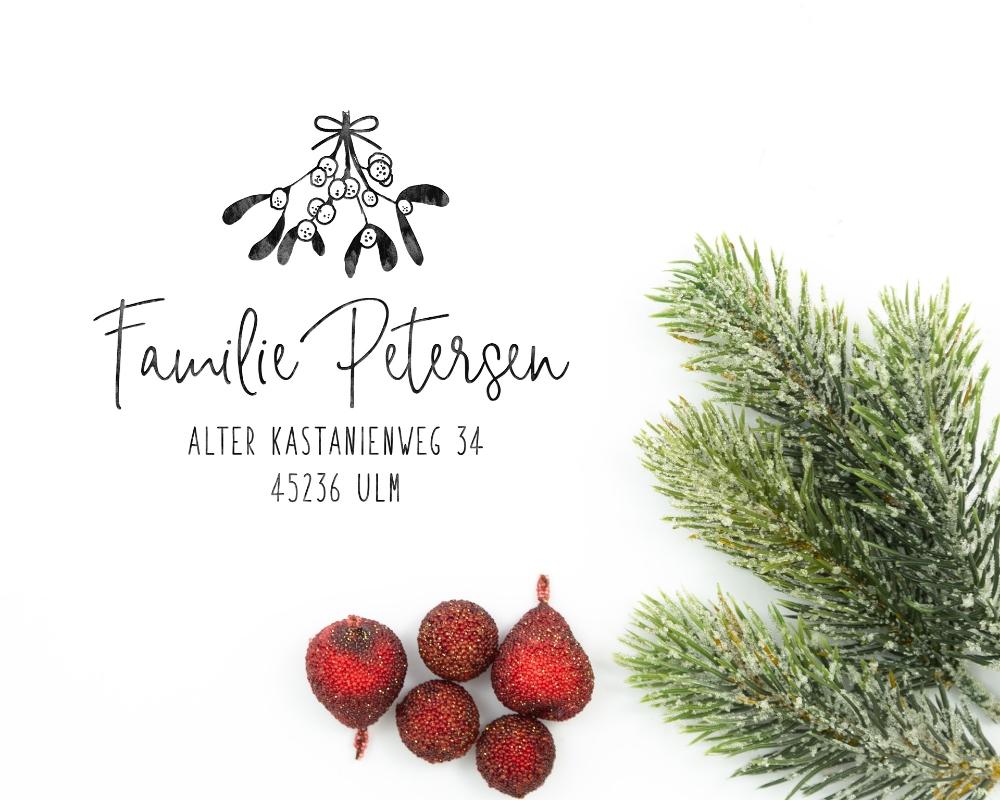 "Weihnachtsstempel ""Mistelstrauss"", 55 x 55mm, personalisisert"