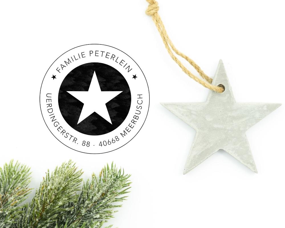 """Weihnachtsstempel mit Adresse, Motiv """"Feststern"""", personalisiert"""