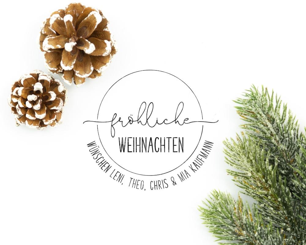 """Personalisierter Adress-Stempel zu Weihnachten, runder Holzstempel, Motiv """"Weihnachtswunsch"""""""