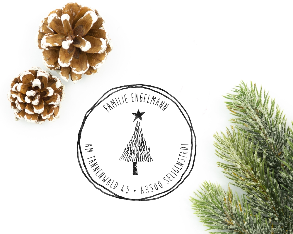 """Personalisierter Adress-Stempel zu Weihnachten, runder Holzstempel, Motiv """"Christbaum"""""""