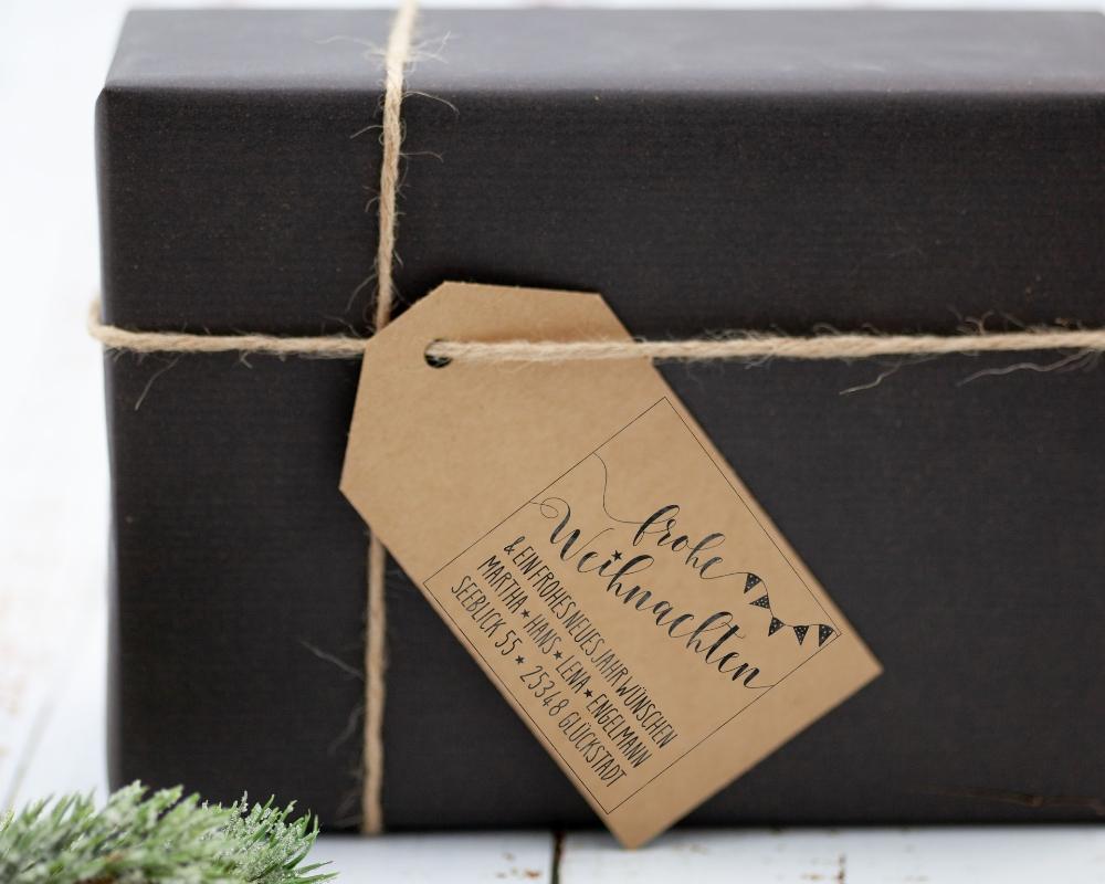 """Weihnachts-Stempel """"Weihnachtsparty"""", Adressstempel, 45 x 45 mm"""