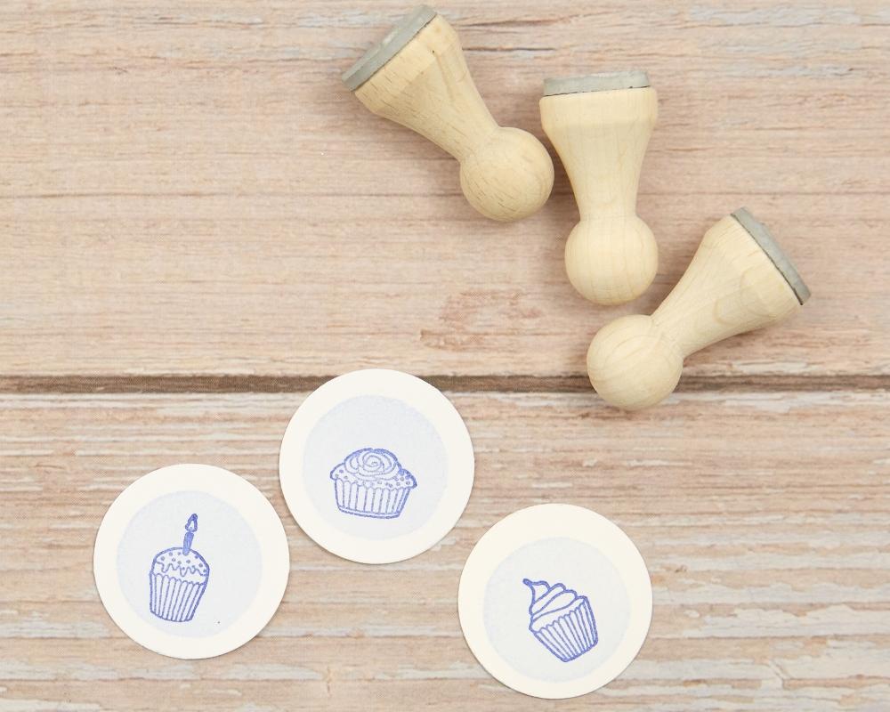 "Motivstempel "" Stempelset Cupcake Muffin"", Ministempel, Holz"