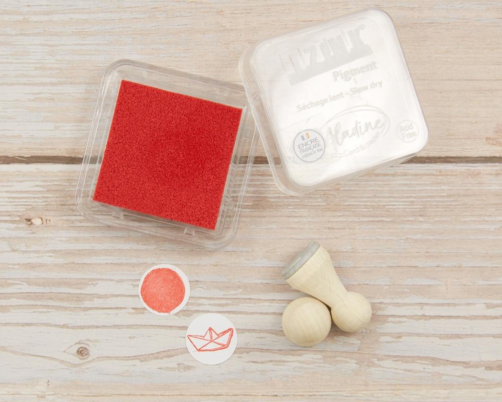 Mini-Stempelkissen red, rot, 38 x 38 mm, säurefrei, farbbeständig