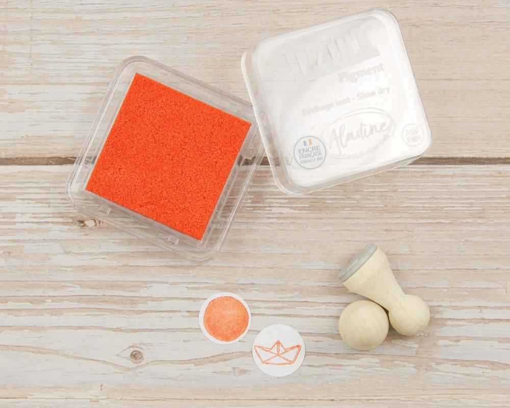 Mini-Stempelkissen orange, 38 x 38 mm, säurefrei, farbbeständig