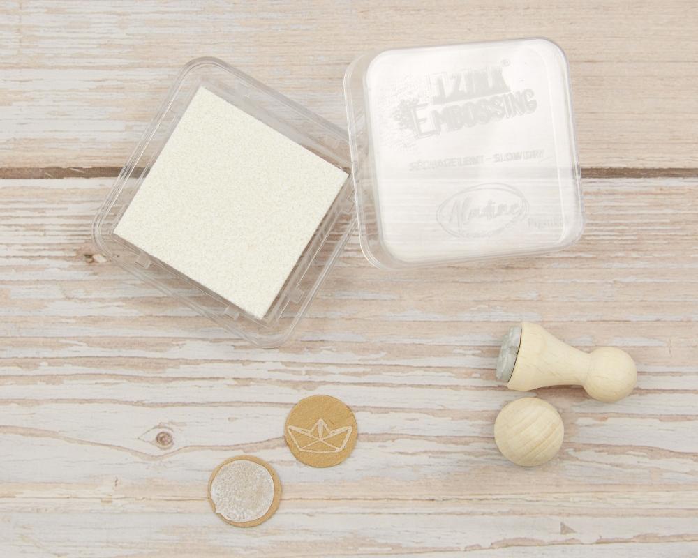 Mini-Stempelkissen weiss, white, 38 x 38 mm, säurefrei, farbbeständig