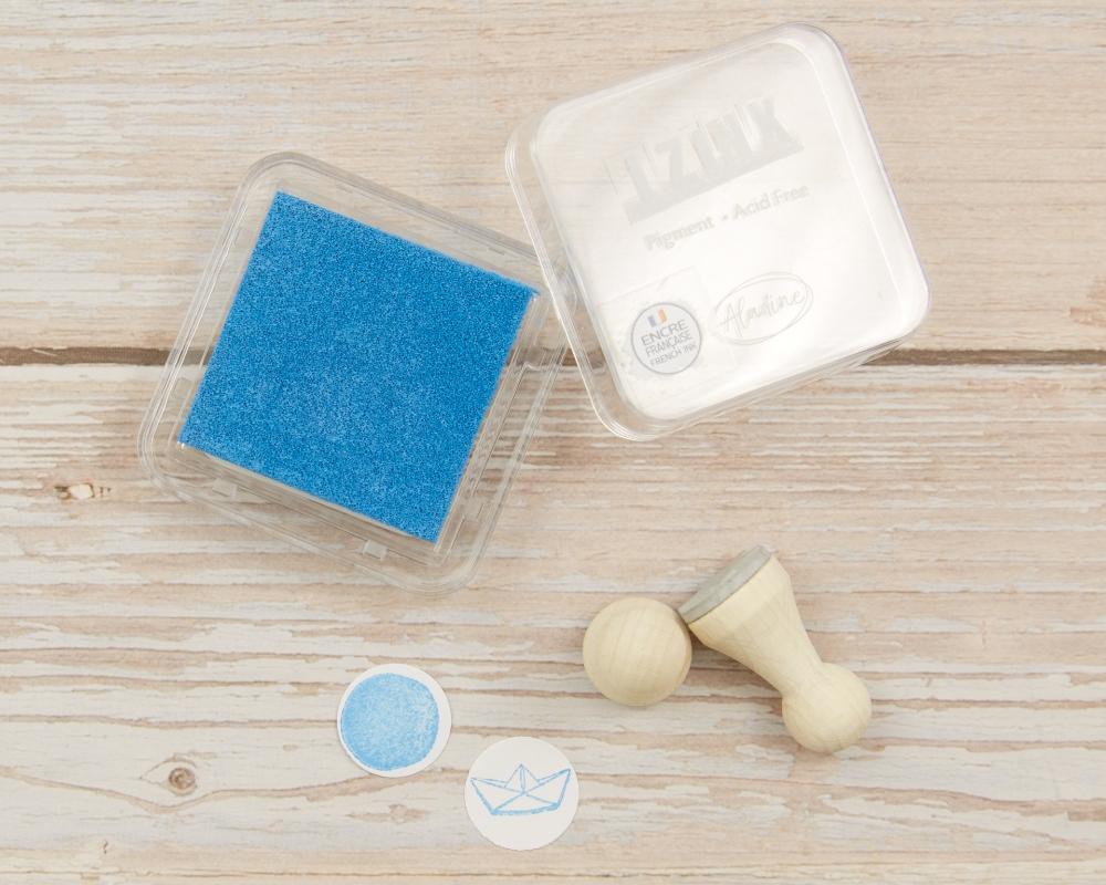 Mini-Stempelkissen aqua, meeresblau, 38 x 38 mm, säurefrei, farbbeständig