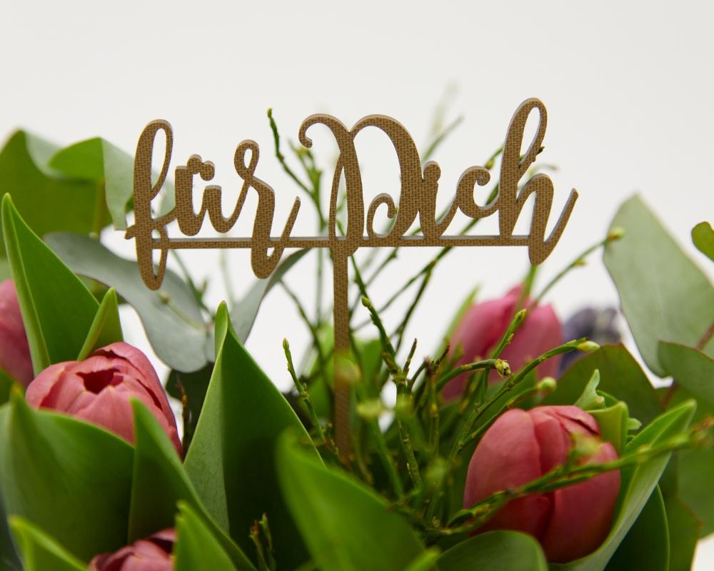 """Picture of Blumenstecker mit dem Schriftzug """"Für Dich"""""""