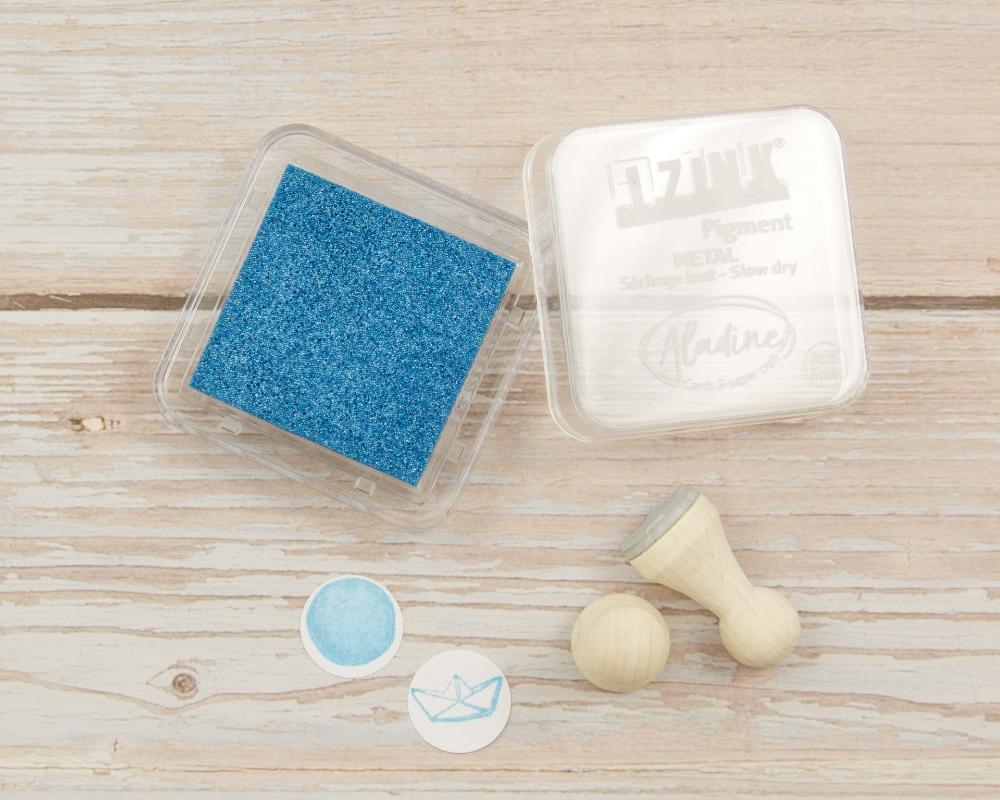 "Picture of Stempelkissen hellblau metallic// Pigment Ink Pad Aladine iZink ""Metal Light Blue"""