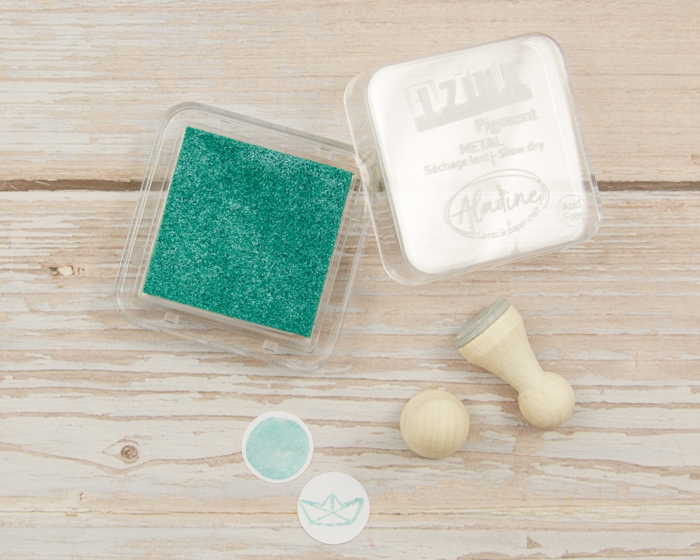 "Picture of Stempelkissen grün metallic// Pigment Ink Pad Aladine iZink ""Metal Green"""