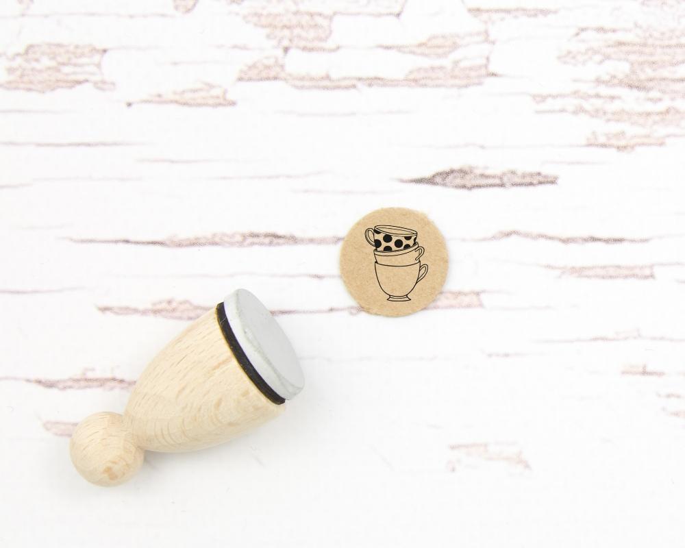 """Ministempel """"Tassenstapel"""", 15mm rund, Holzgriff"""