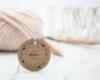 Firmenstempel, rund, Holzstempel, Floral mit Adresse