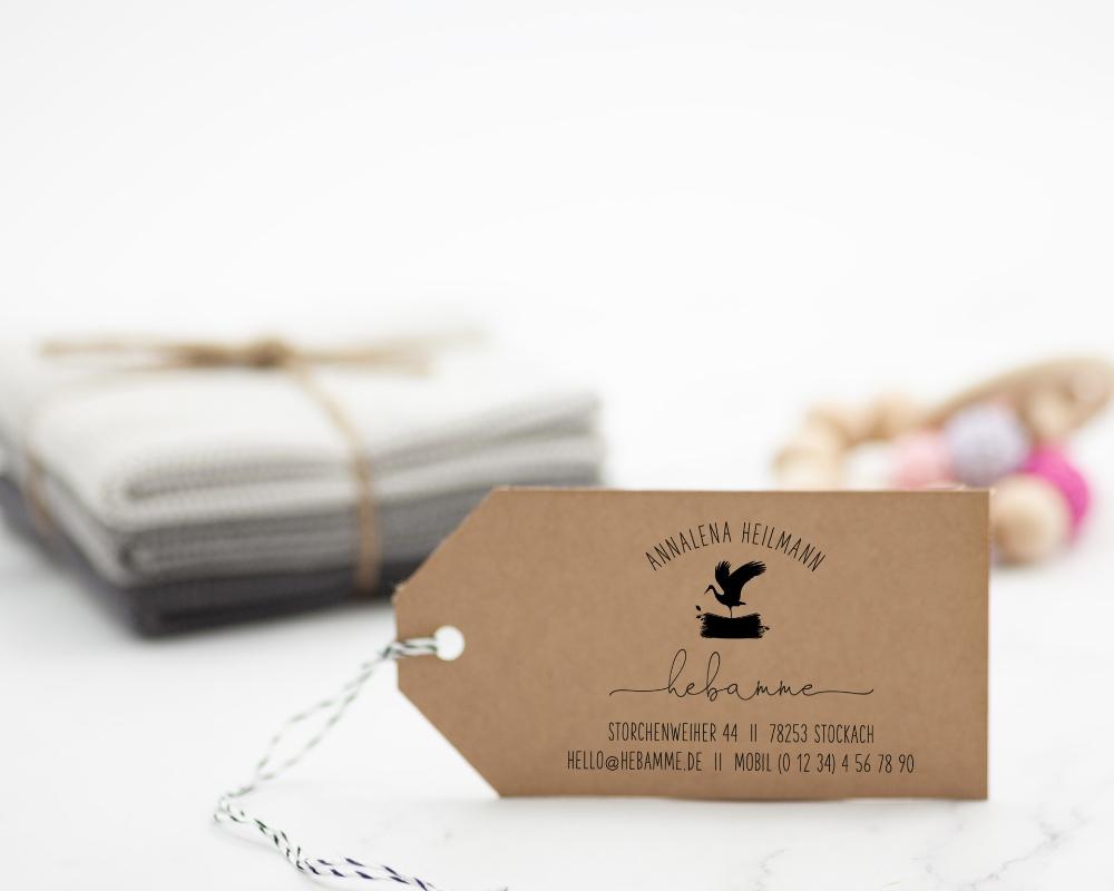 Adressstempel, geschäftlich, Hebammen, Holzstempel, personalisiert