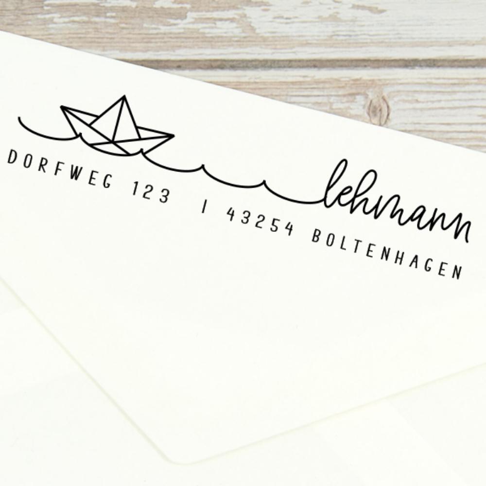 "Adressstempel personalisiert, mit Papierboot, Motiv ""Boltenhagen"""