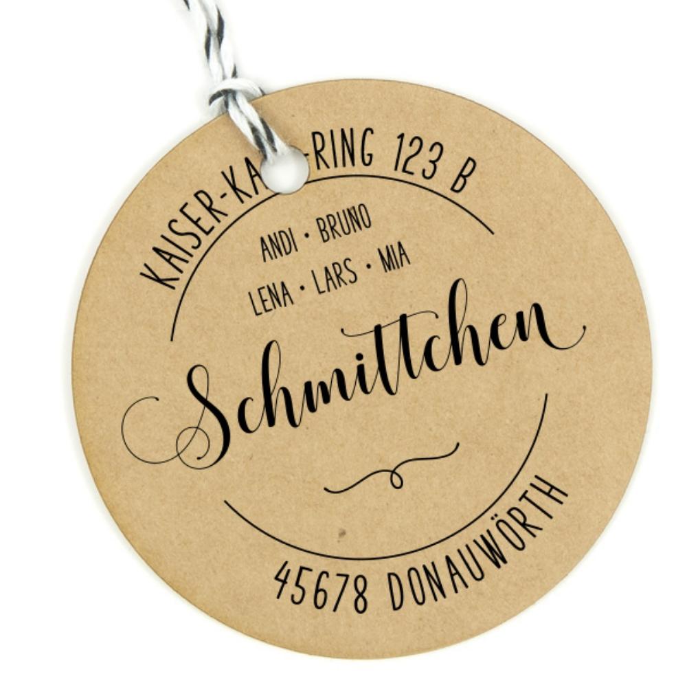 """Familienstempel """"Donauwörth"""", runder Adressstempel, personalisierbar"""