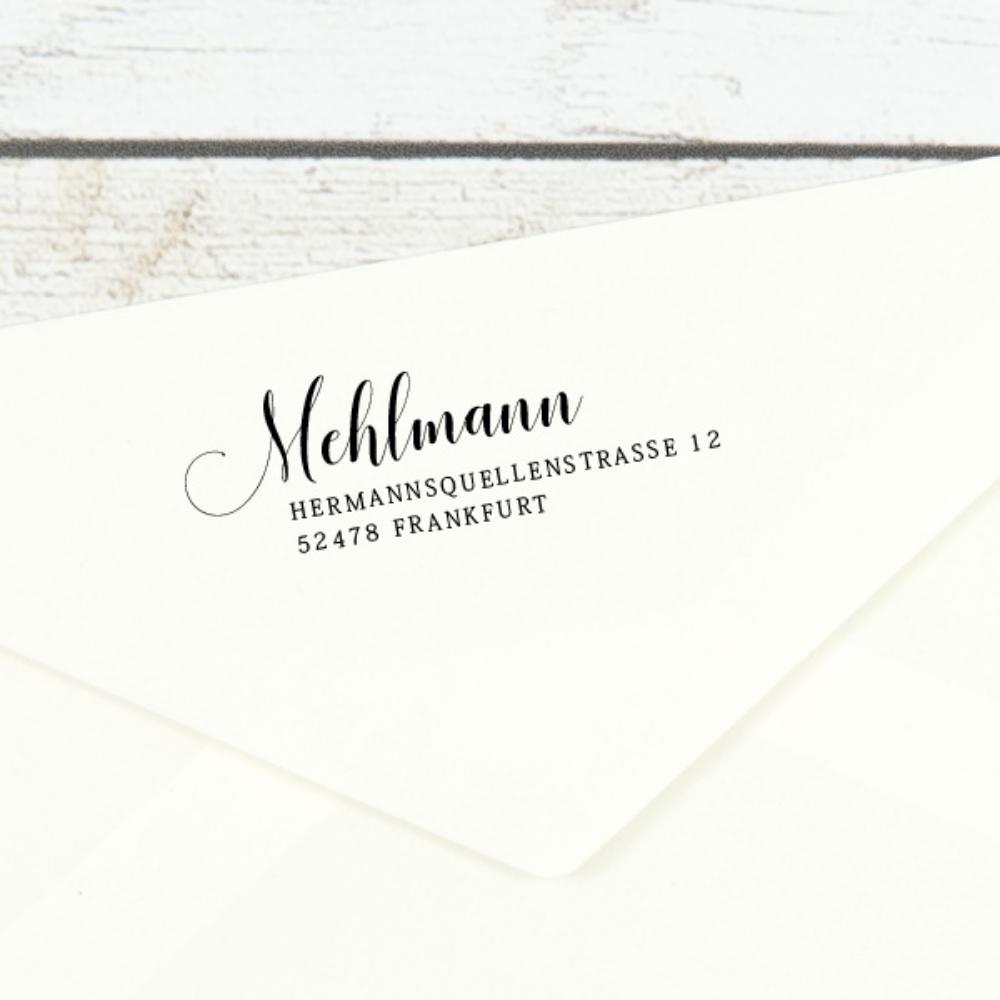 "Individueller Namensstempel ""Frankfurt"" mit eigener Adresse"