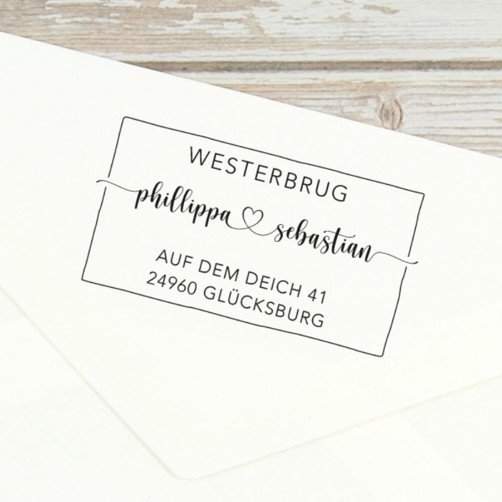 """Individueller Adressstempel """"Glücksburg"""", typografisch, kreativ"""