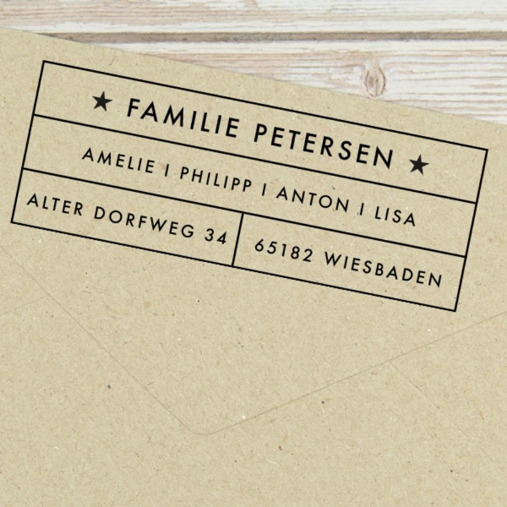 "Familien-Adressstempel ""Wiesbaden"" - individuell persoanlisiert"