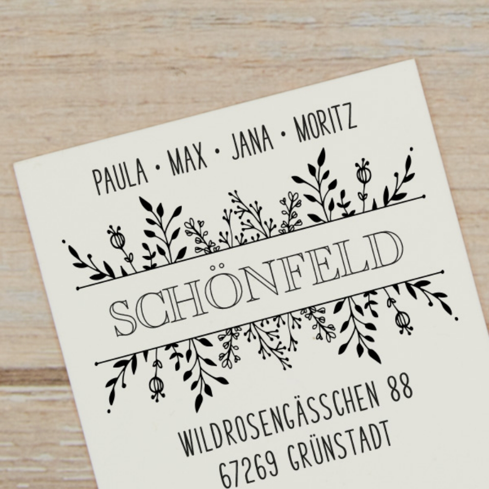 "Floraler Adressstempel ""Grünstadt"", individuell & personalisiert"