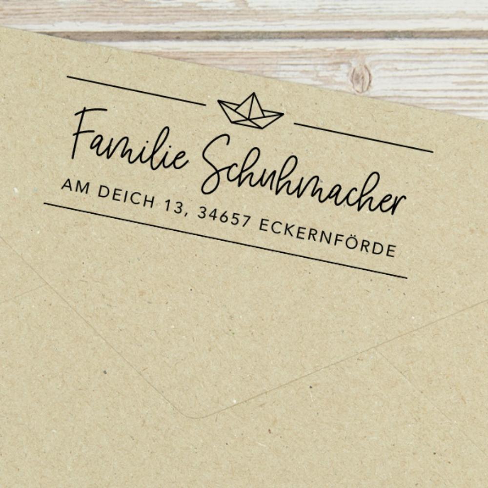 """Maritimer Adressstempel """"Eckernförde"""" mit Papierboot, personalisiert"""
