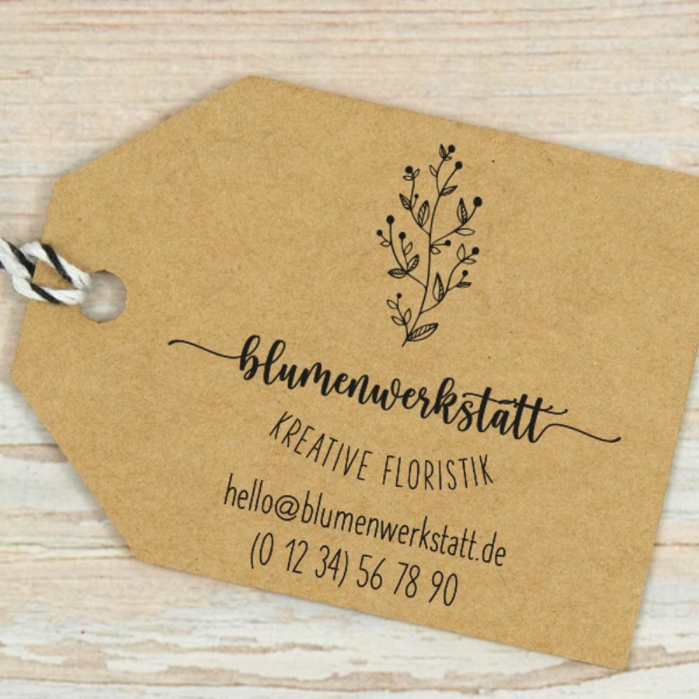Adressstempel für Deinen Blumenladen mit toller Typografie und Blumenranke