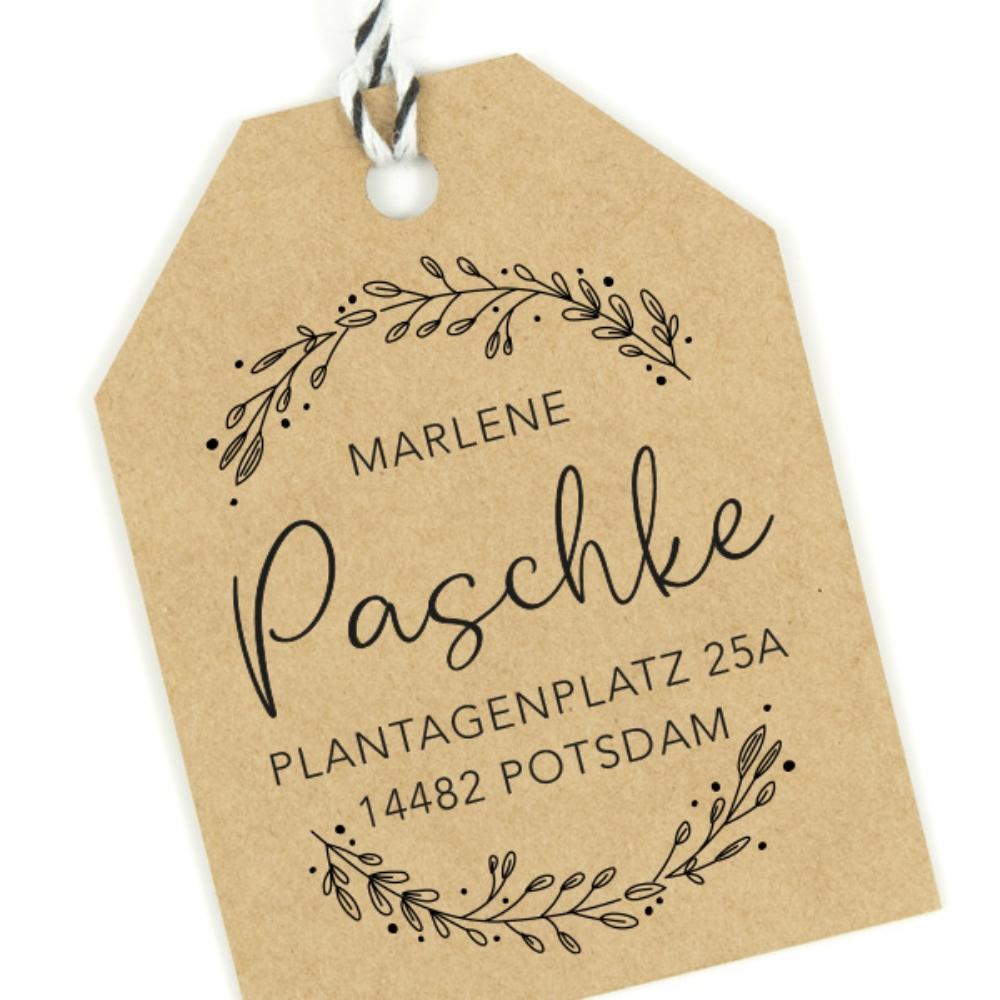 """Personalisierbarer Adressstempel mit floralem Kranz, Motiv """"Potsdam"""", rund 40 mm"""
