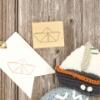 Motivstempel Papierboot, rechteckig, Holz