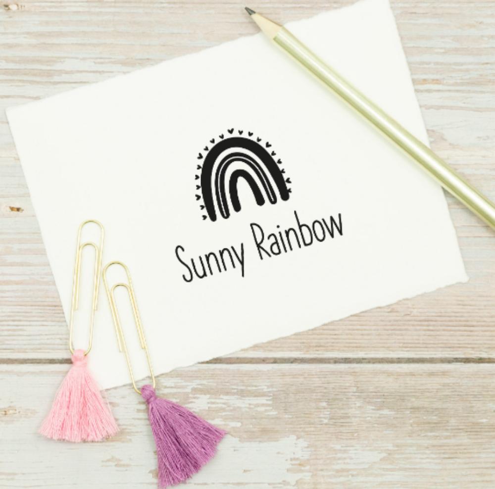 Namensstempel, personalisiert, rechteckig, Regenbogen