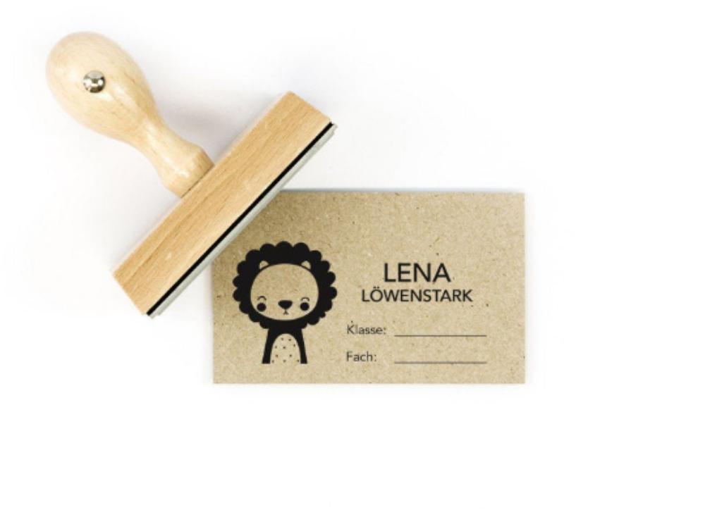 Namensstempel, personalisiert, rechteckig, Löwe