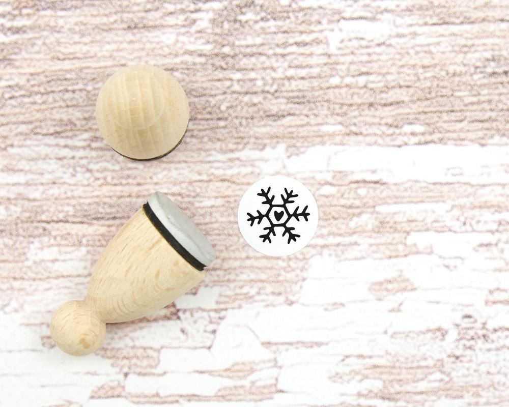 Motivstempel, 18mm, Herz-Schneeflocke