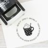 Buchstempel / Selbstfärbestempel mit Tassenmotiv, individuell & persönlich
