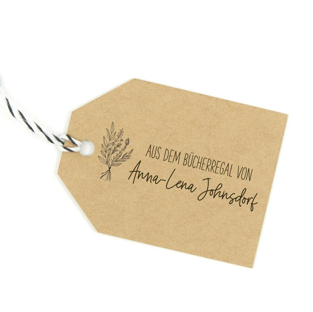 Buchstempel mit hübschem Blumenmotiv, individuell & persönlich