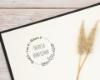 Individueller Ex Libris Stempel mit floraler Umrandung, personalisiert