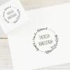 Ex Libris Stempel / Selbstfärbestempel mit Blumenkranz, individuell & persönlich