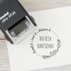 Buchstempel / Selbstfärbestempel mit floralem Rahmen, individuell & persönlich