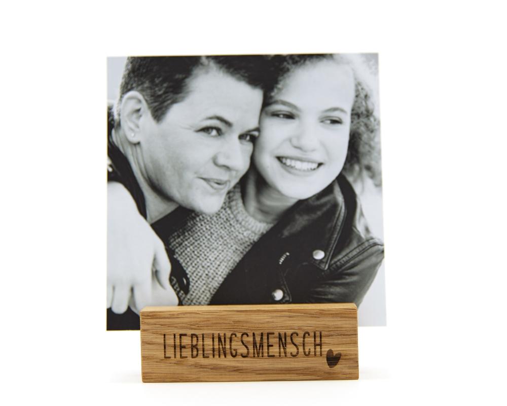 """Gravierter Fotohalter """"Lieblingsmensch"""" für Deine Lieblingsfotos"""